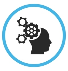 Brain mechanics flat rounded icon vector