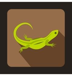Green lizard icon flat style vector