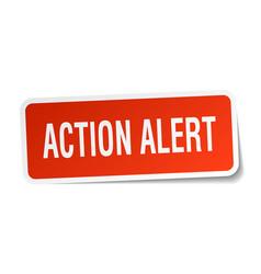 Action alert square sticker on white vector