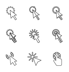Arrow icons set outline style vector