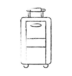 blurred silhouette travel suitcase with handle vector image