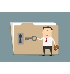 Businessman opening confident information folder vector image