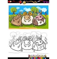 Cartoon farm animals coloring page vector