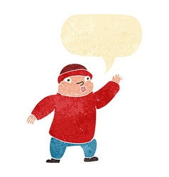 cartoon man in hat waving with speech bubble vector image vector image