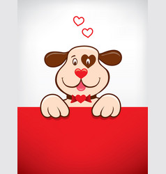 cartoon with funny dog with heart vector image vector image