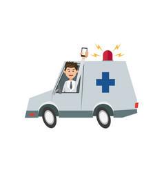 Character man drive ambulance and smartphone vector