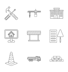 Construction tools icons set outline style vector image