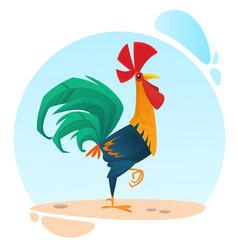 Cute cartoon rooster mascot vector