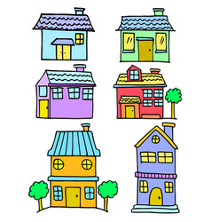 Doodle of house style colorful set vector