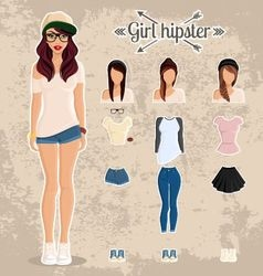Girl hipster people characters avatars subcultur vector