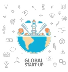 Global startup concept vector