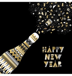 Gold New Year drink bottle fancy party celebration vector image
