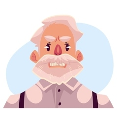 Grey haired old man face angry facial expression vector