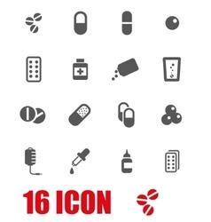 Grey pills icon set vector