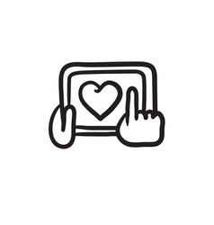 Hands holding tablet with heart sign sketch icon vector