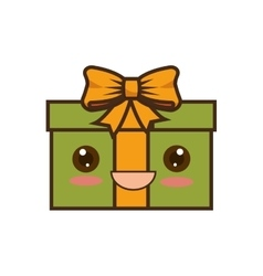 happy merry christmas gifts kawaii style vector image