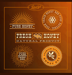 honey bee label set vector image vector image