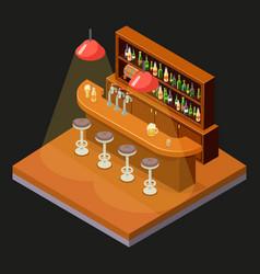 isometric pub bar restaurant cafe symbol alcohol vector image vector image