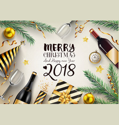 merry christmas and happy new year 2018 card with vector image