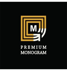 Modern template monogram emblem logo symbol of vector