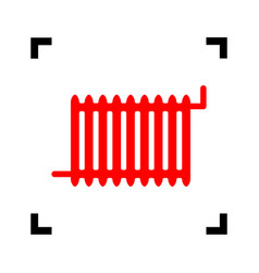 radiator sign red icon inside black focus vector image