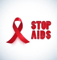 Red ribbon stop aisd background vector