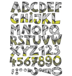 Retro leaf font set vector image