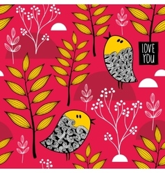 Romantic wallpaper with cute small birds on the vector