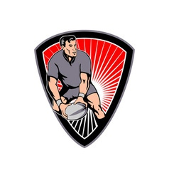 rugby passing ball shield vector image
