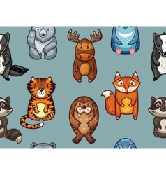 Seamless pattern with funny animals in cartoon vector image