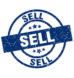 Sell blue round grunge stamp vector