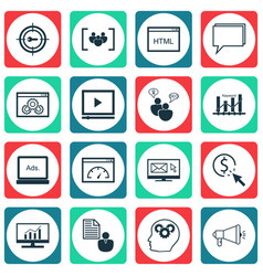 Set of 16 marketing icons includes search vector