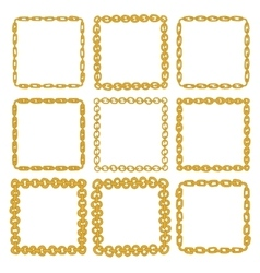 Set of 9 decorative square gold border frames vector