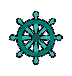 ship steering wheel embroidery patch vector image vector image
