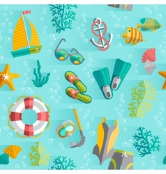 Summer tropical vacation seamless pattern vector image