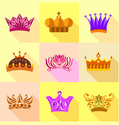 Types of crown icons set flat style vector