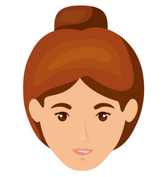 white background of smiling redhead woman face vector image vector image