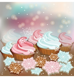 Winter christmas sweets background vector