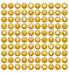 100 baseball icons set gold vector