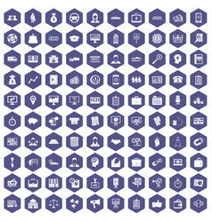100 business group icons hexagon purple vector