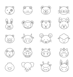 Animals Icons Line Set vector image