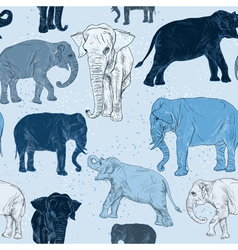 Seamless pattern with elephant vector