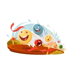 Funny emotional smileys in race vector