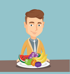 Man with fresh fruits vector