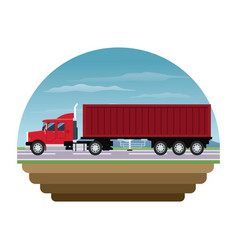 red container truck shipping cargo stamp vector image