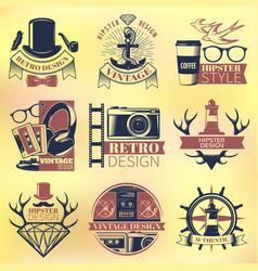 Vintage hipster colored emblems set vector