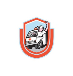 Ambulance emergency vehicle driver waving shield vector