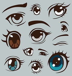 Anime style eyes set vector