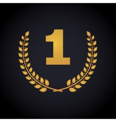 Number one in laurel wreaths frame vector