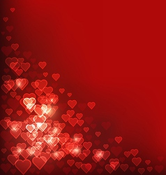 Abstract heart bokeh red background vector